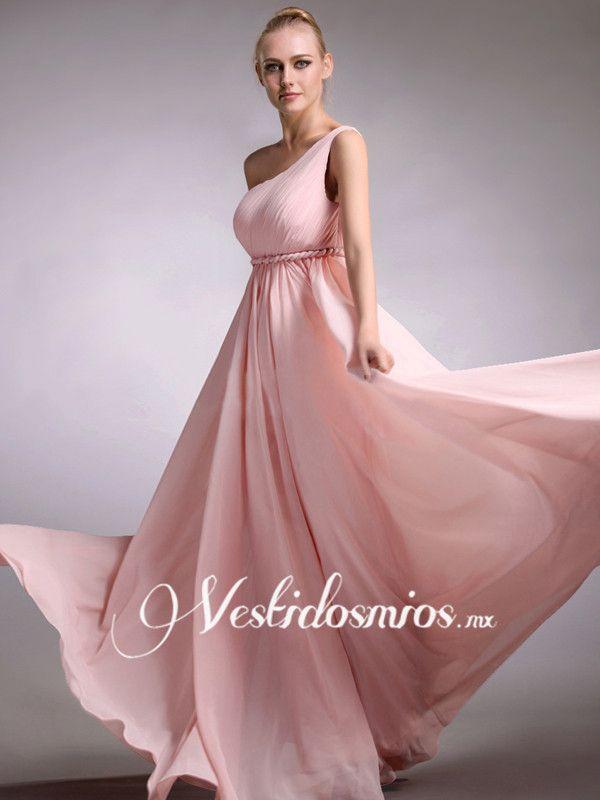Chiffon Elegante Solo Hombro Rosa Vestido Largo de Fiesta VP097 ...