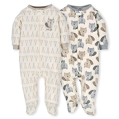 e48a7efee Gerber® Preemie 2-Pack Teepee Fox Sleep N  Play Footies in Grey ...