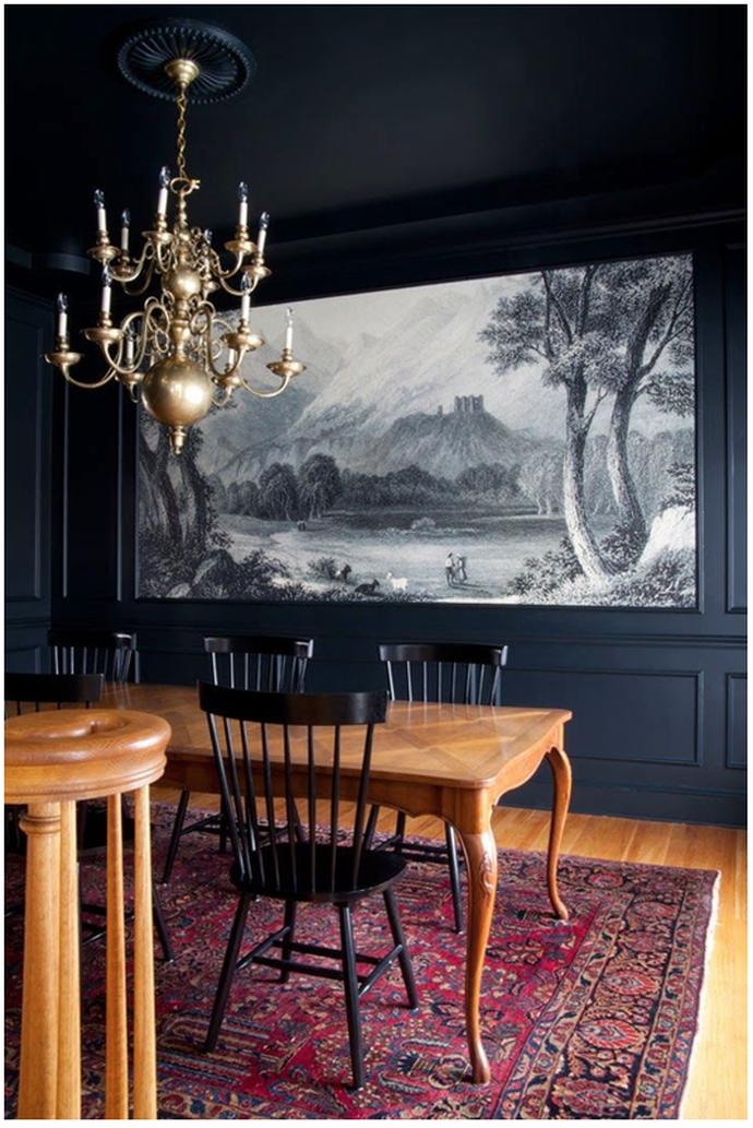 Landscape Mural Wallpaper Dining Room Brass Chandelier Antique Table Oriental Rug The Makerista