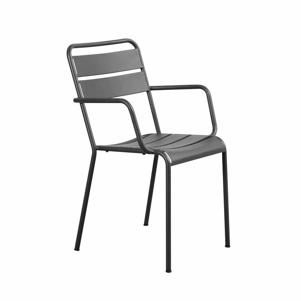 Metallstuhl Twisti Mit Armlehne Metallstuhle Eisentisch Stuhle