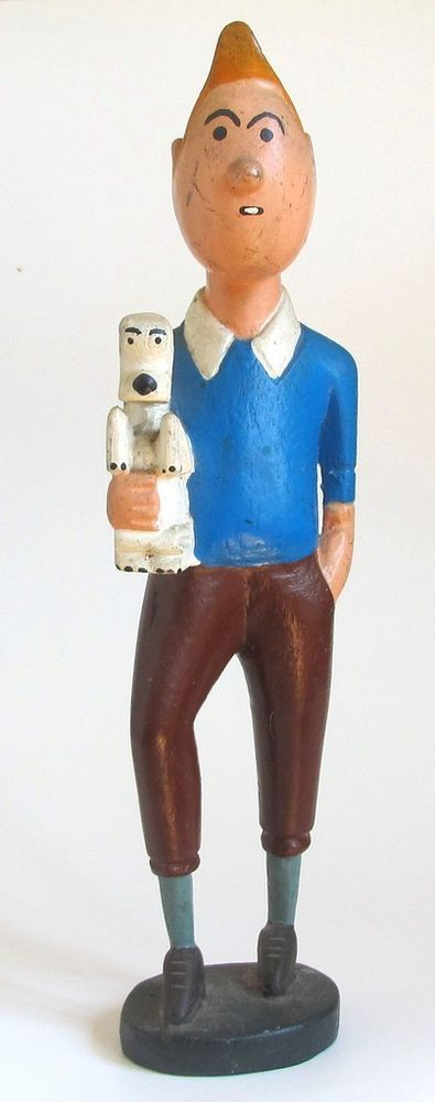 Tintin Snowy Vintage African Hand Carved Wood Figure 13 12in
