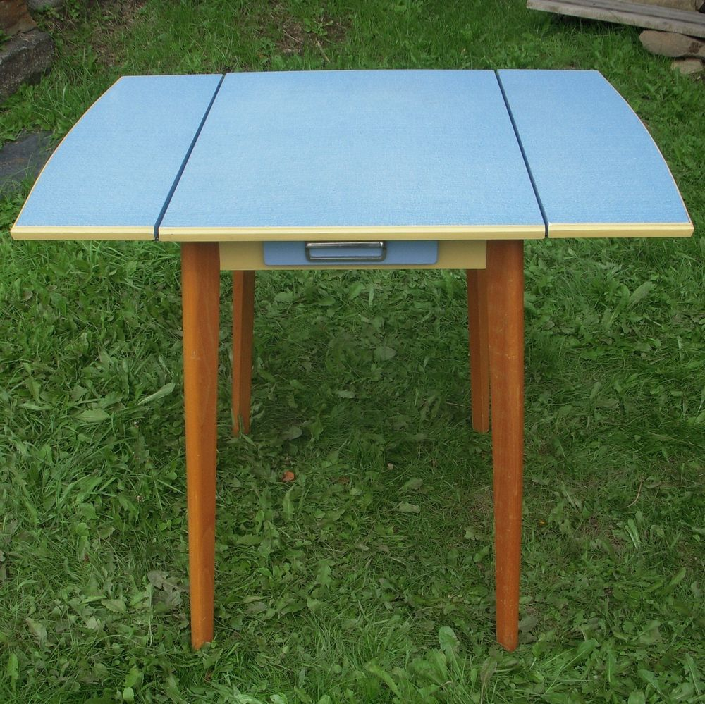 Retro/Vintage Wooden Kitchen Drop Leaf Table Blue Formica Top Drawer 50s