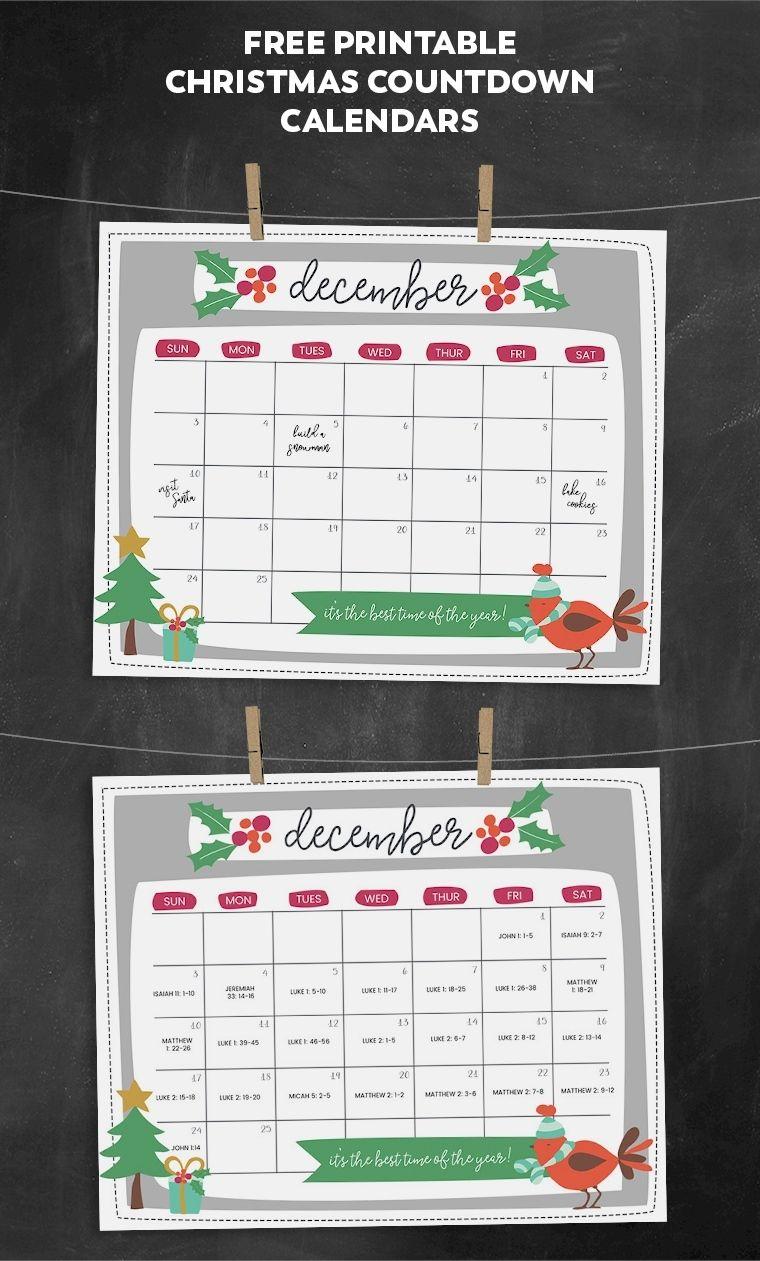Incredible Printable Countdown To Christmas Calendar 2020 in 2020