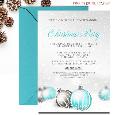 christmas party invitation blue or pink ornaments holiday party