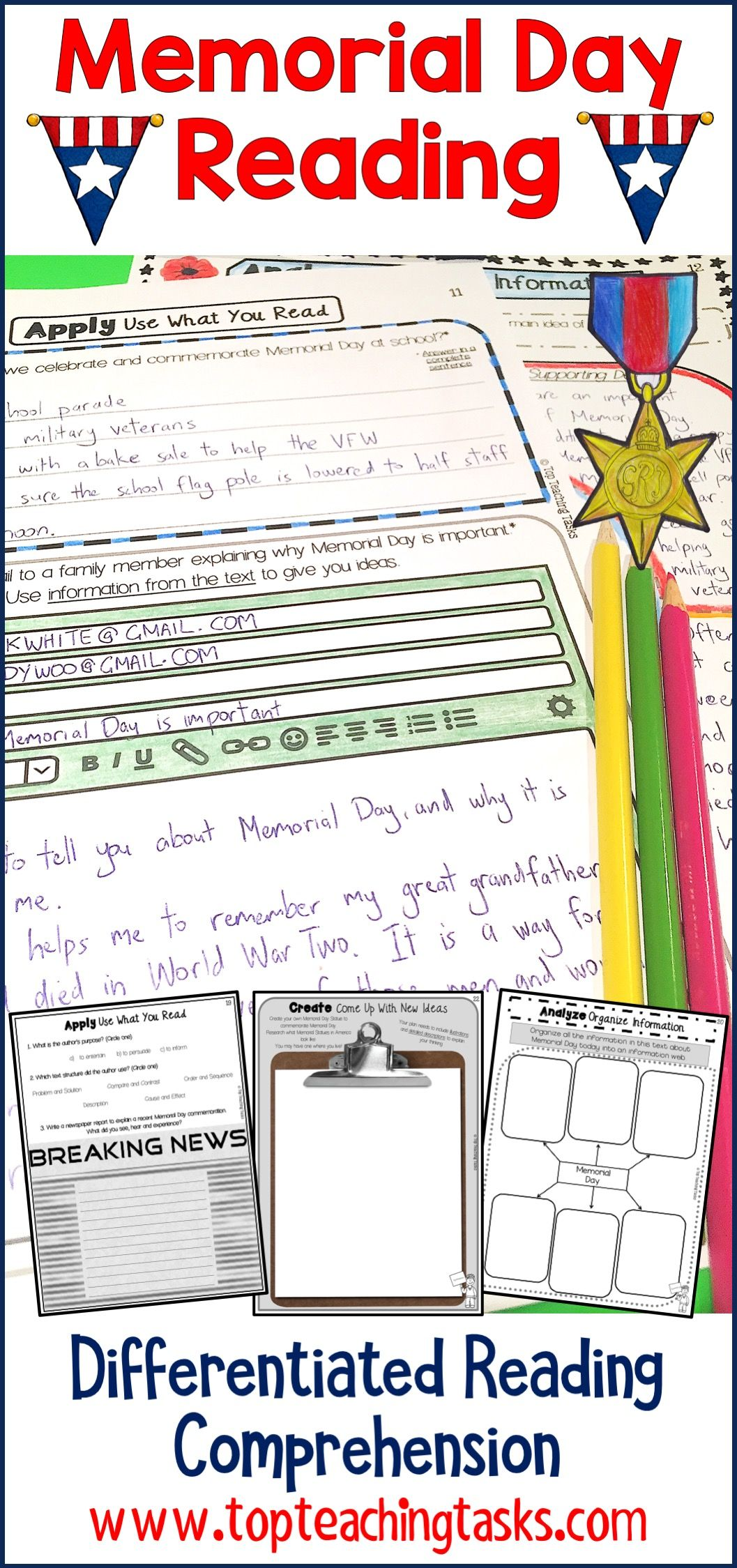 This Memorial Day Reading Activities Resource Includes Two Grade Four And Grade Five Reading Comprehension Reading Comprehension Passages Comprehension Passage [ 2249 x 1057 Pixel ]