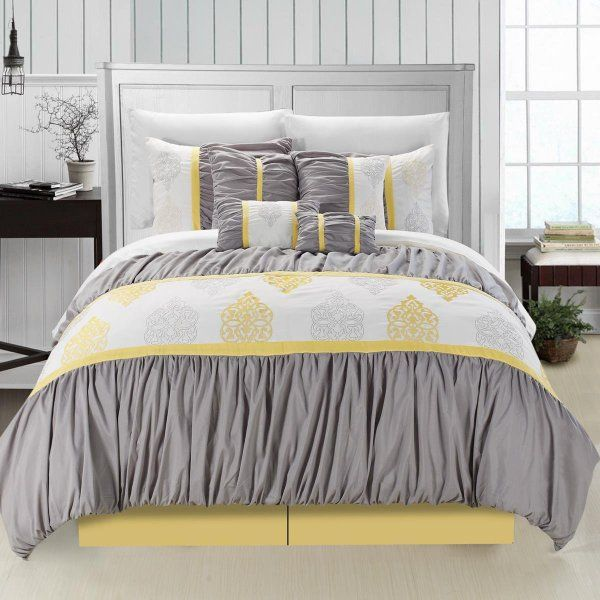 20 Gray And Yellow Nursery Designs With Refreshing Elegance: Chic Home Precious 8-Piece Comforter Set, Queen, Yellow