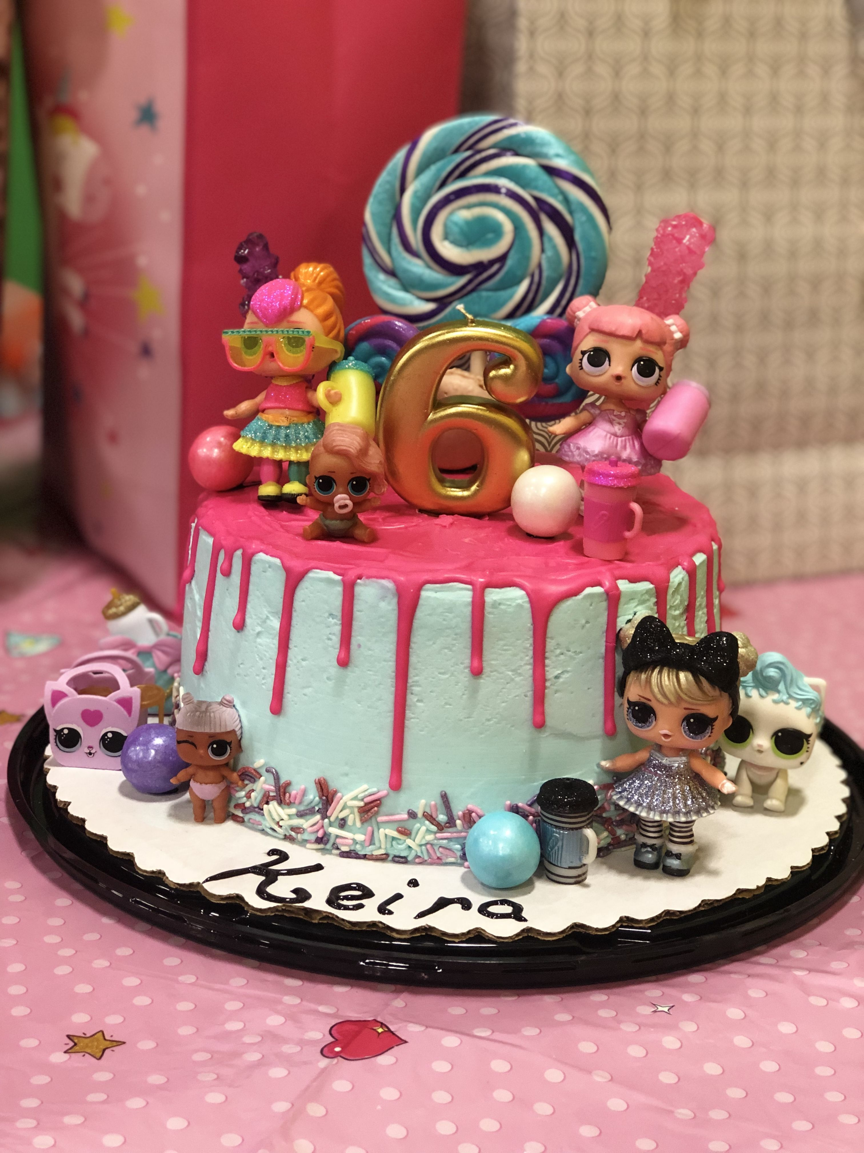 Homemade Cake Featuring L O L Surprise Dolls With A Drip Ganache With Images Funny Birthday Cakes Surprise Birthday Cake Birthday Surprise