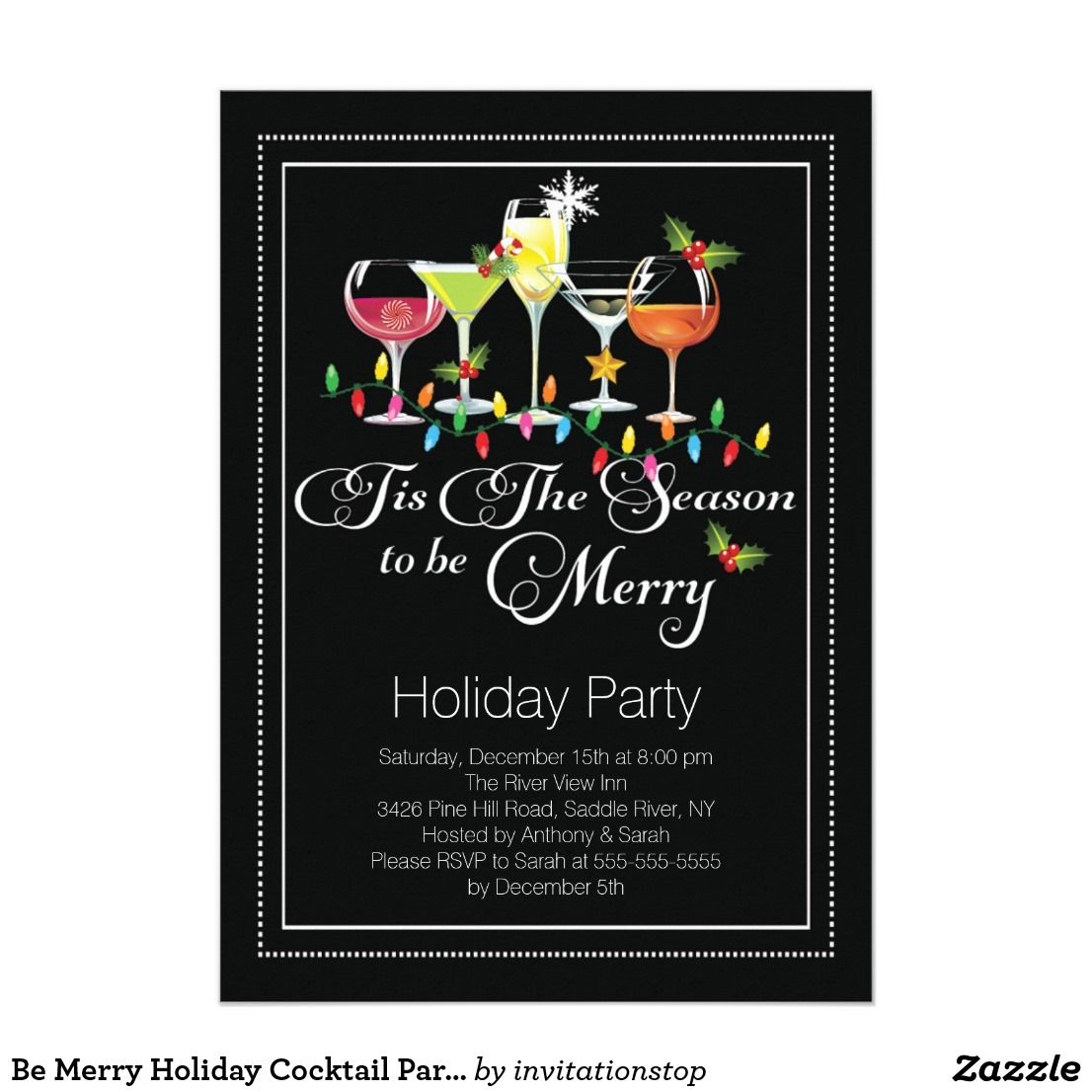 Be Merry Holiday Cocktail Party Invitation Holidays Pinterest