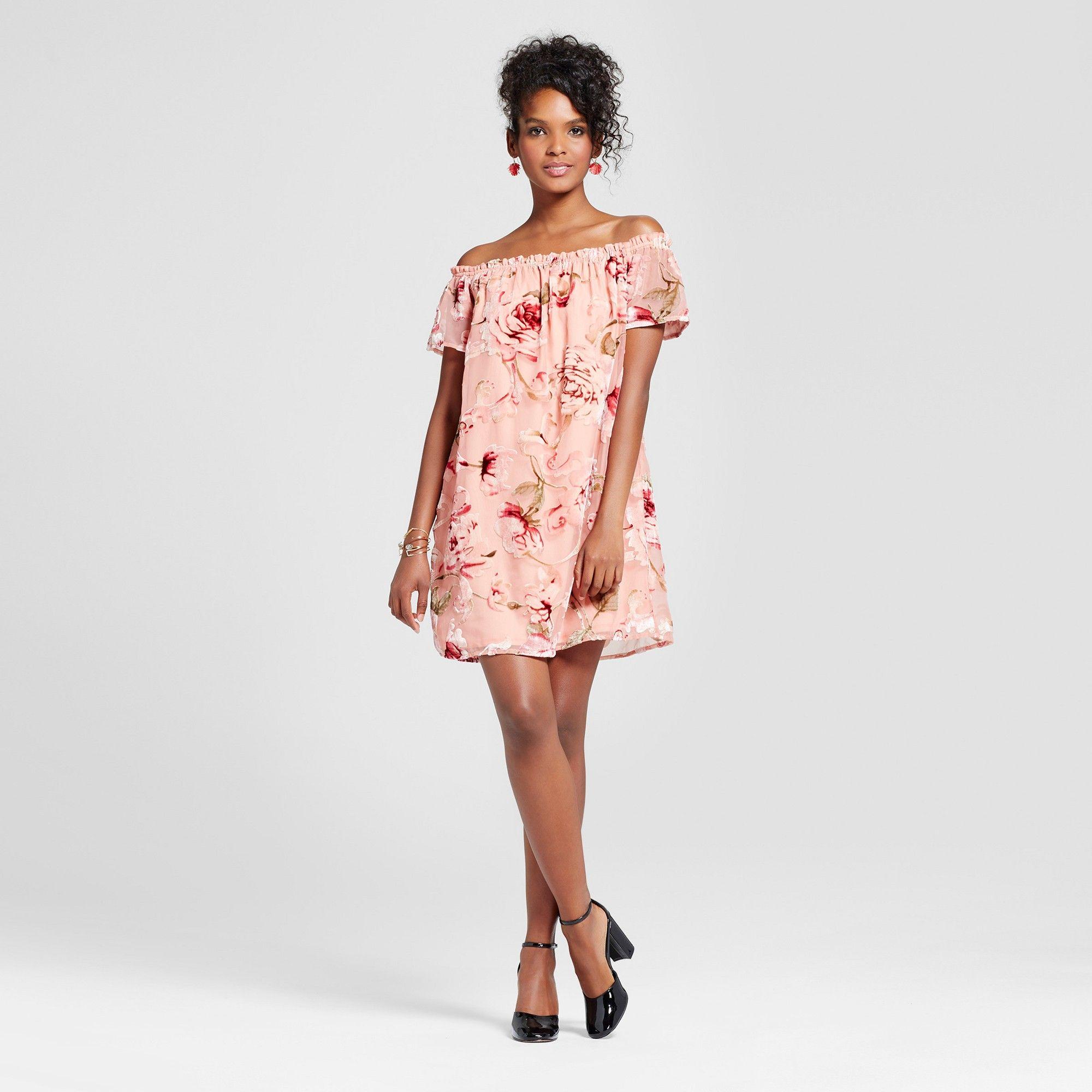09ae7483ae09 Women's Velvet Burnout Off the Shoulder Dress - Xhilaration (Juniors') Pink  S