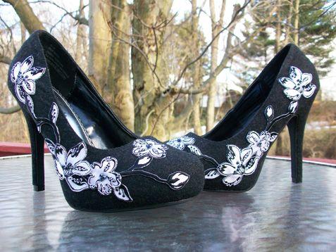 Diy lace applique pumps shoe refashion ideas lace