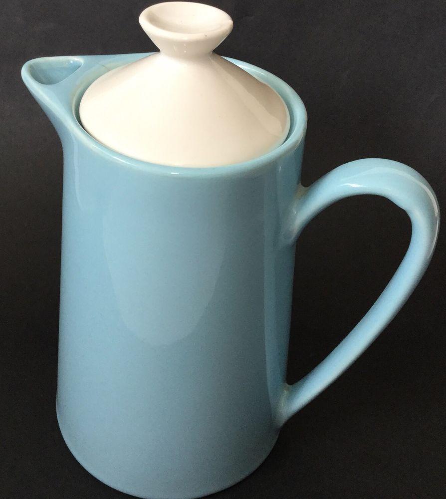 Vintage Mid Century Ceramic Coffee Tea Pot Japan Jug Blue Fab Retro ...
