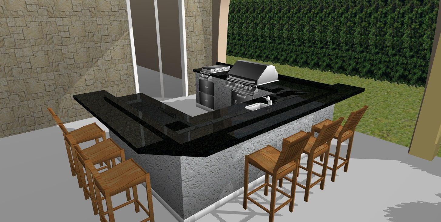 This Outdoor Kitchen With The Black Countertop With The Gray Main Body Is Beautifully Designed I Outdoor Kitchen Design Outdoor Kitchen Outdoor Patio Designs