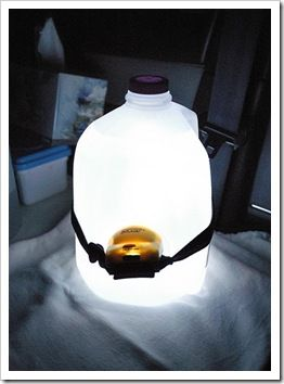 Milk Jug Lamp With A Headlight For Camping