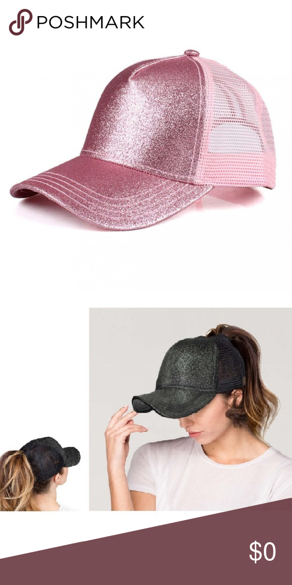 35ffce709a7e3 C.C Glitter Pony Cap - PRICE IS FIRM C.C glitter ponytail baseball cap with  mesh back. Adjustable Velcro back with CC leather Logo on back. 100%  polyester.