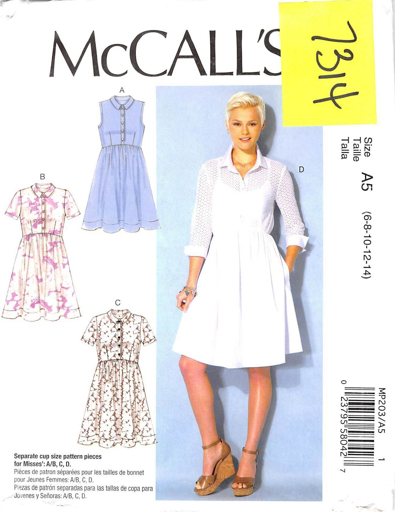 MCCALLS 7314 - FROM 2016 - UNCUT - MISSES DRESS | fashion History ...