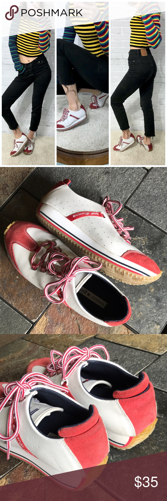 """1abe75eccd27ab Tommy Hilfiger 90s Y2K chunky sneakers Good vintage condition 1.5"""" platform  adds height Women s 8"""