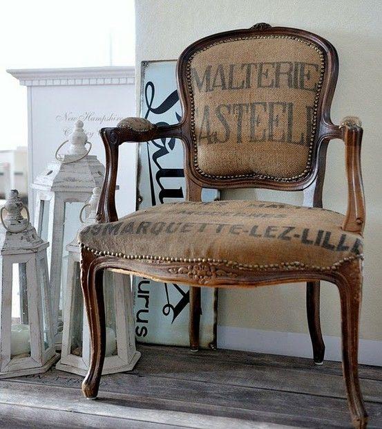Merveilleux Burlap Chair   Great Look