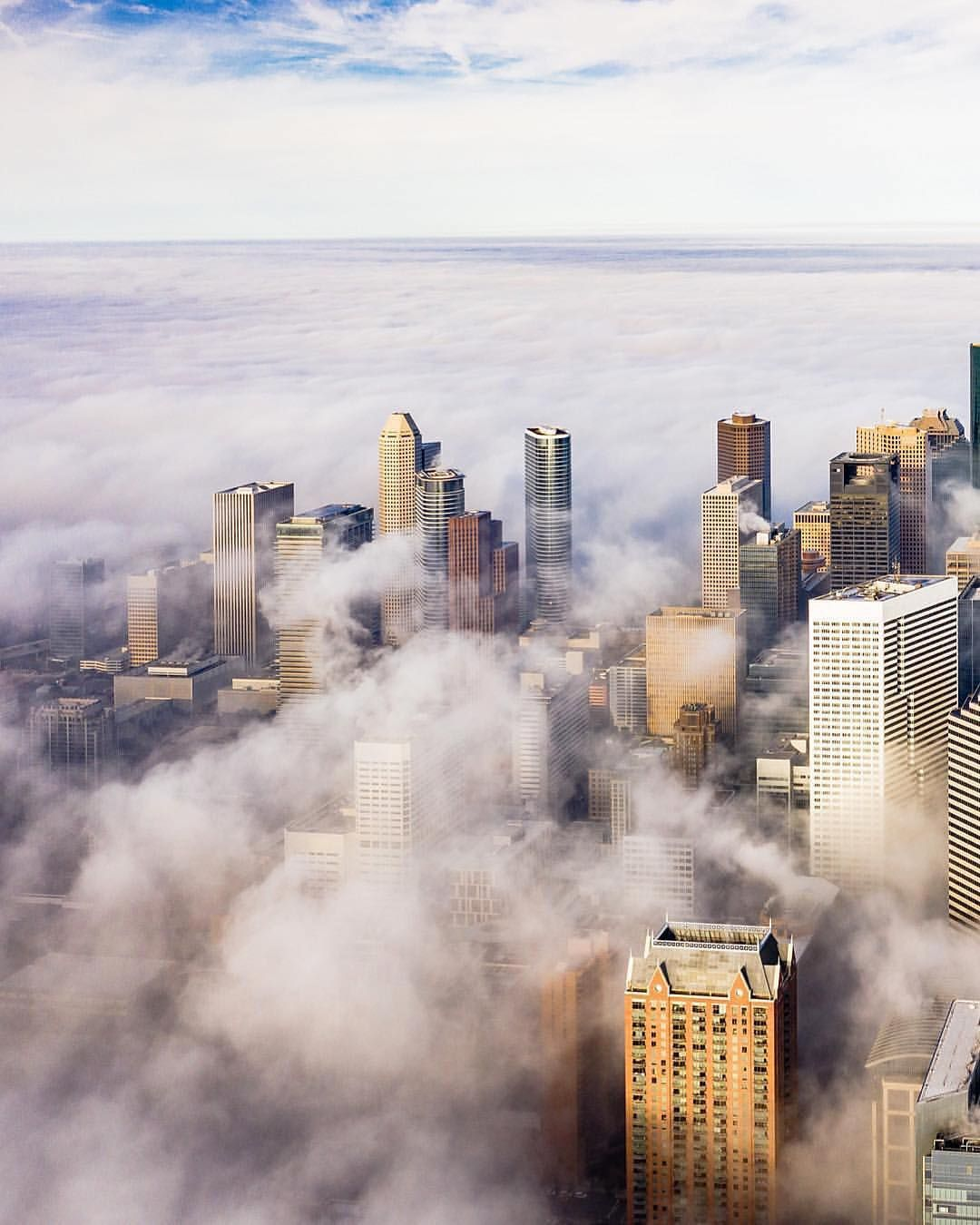 Houston Skyline During Sunrise Houston Skyline Skyline Sunrise