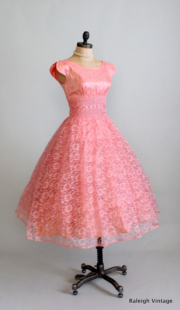 1950s peach lace prom dress. https://www.etsy.com/listing/110664140 ...