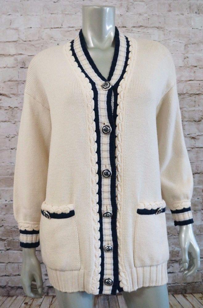 St. John Sportswear Marie Gray Ivory Navy Silver Cardigan Sweater ...