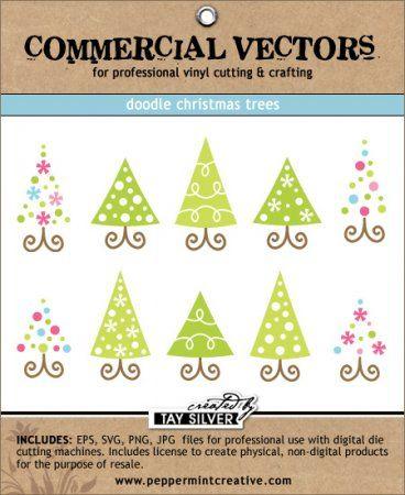 COMMERCIAL Vectors - Doodle Christmas Trees