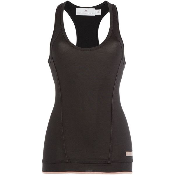 Adidas by Stella McCartney The Performance Tank (105 NZD) ❤ liked on Polyvore featuring activewear, activewear tops, tops, black, adidas sportswear, adidas activewear and adidas