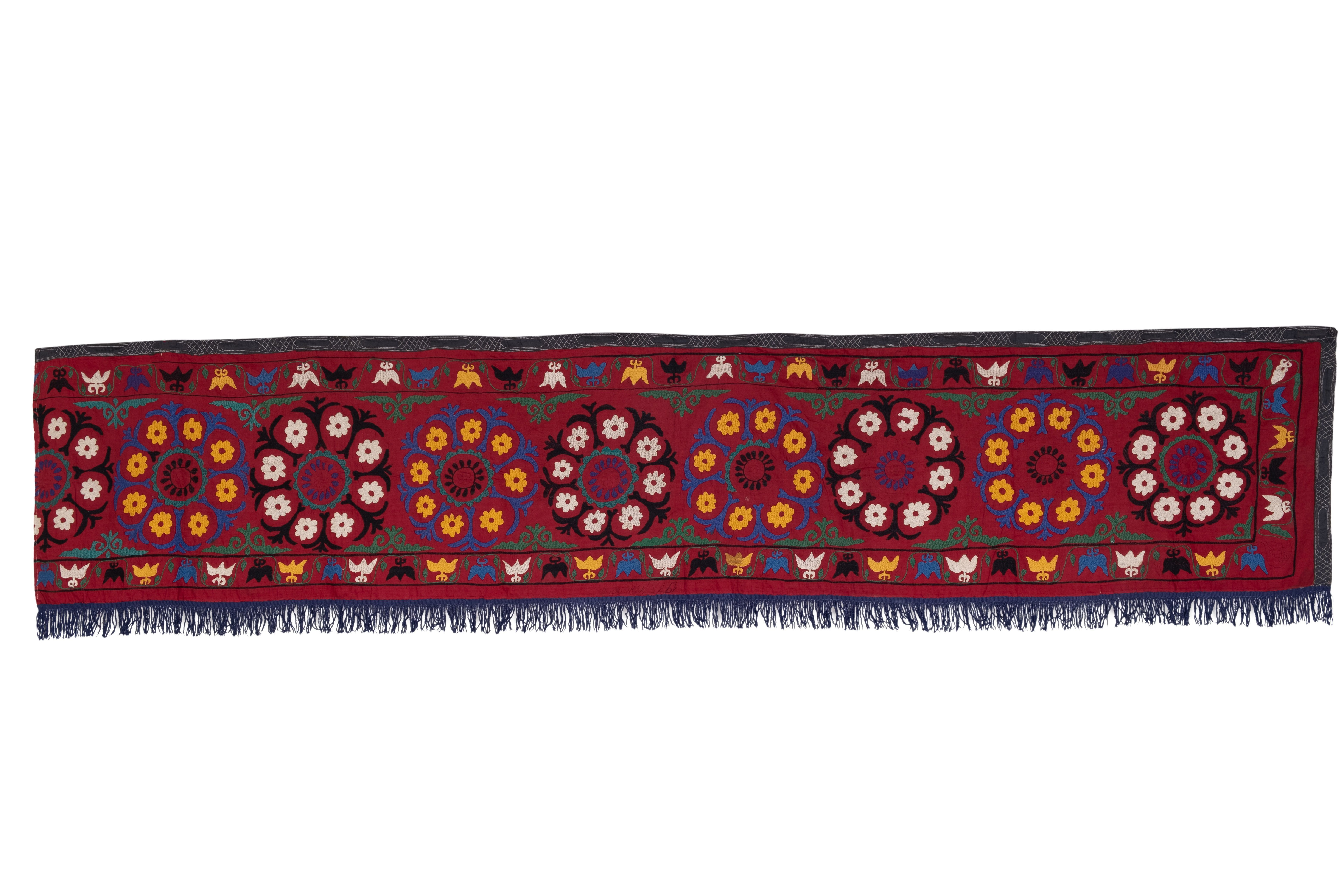 Vintage Embroidered Floral Suzani Table Runner / Wall Hanging 1'10 x 9'7'  #tribal #rug #turkishkilim #antiqueshow #woolrug #turkishrug #antiquerug #tribal #turkish #freeshipping #kilimpillow #cushioncovers #unique #oneofakind #kilim #collectibles #antique #freeshipping #designers #embroidery #alamedaflea #wallhanging #freedelivery #alameda #vintage #cecim #suzani #bazaar #flea #quality #suzani