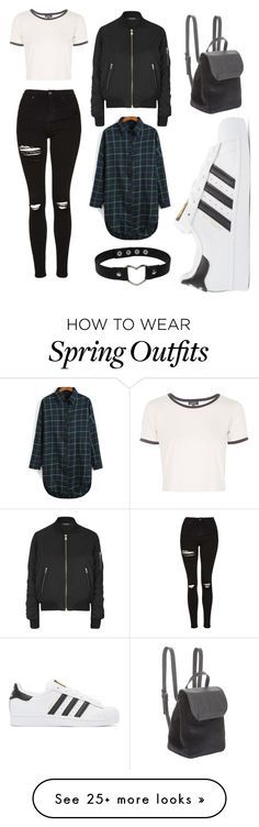 """spring #19"" by tinylandaas-1 on Polyvore featuring Topshop, BCBGeneration and adidas Originals"