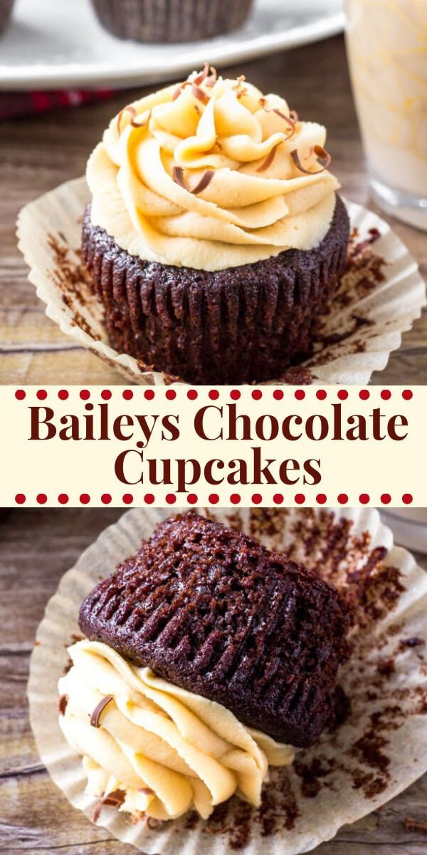 Baileys Cupcakes - Moist Chocolate Cupcakes with Irish Cream Frosting