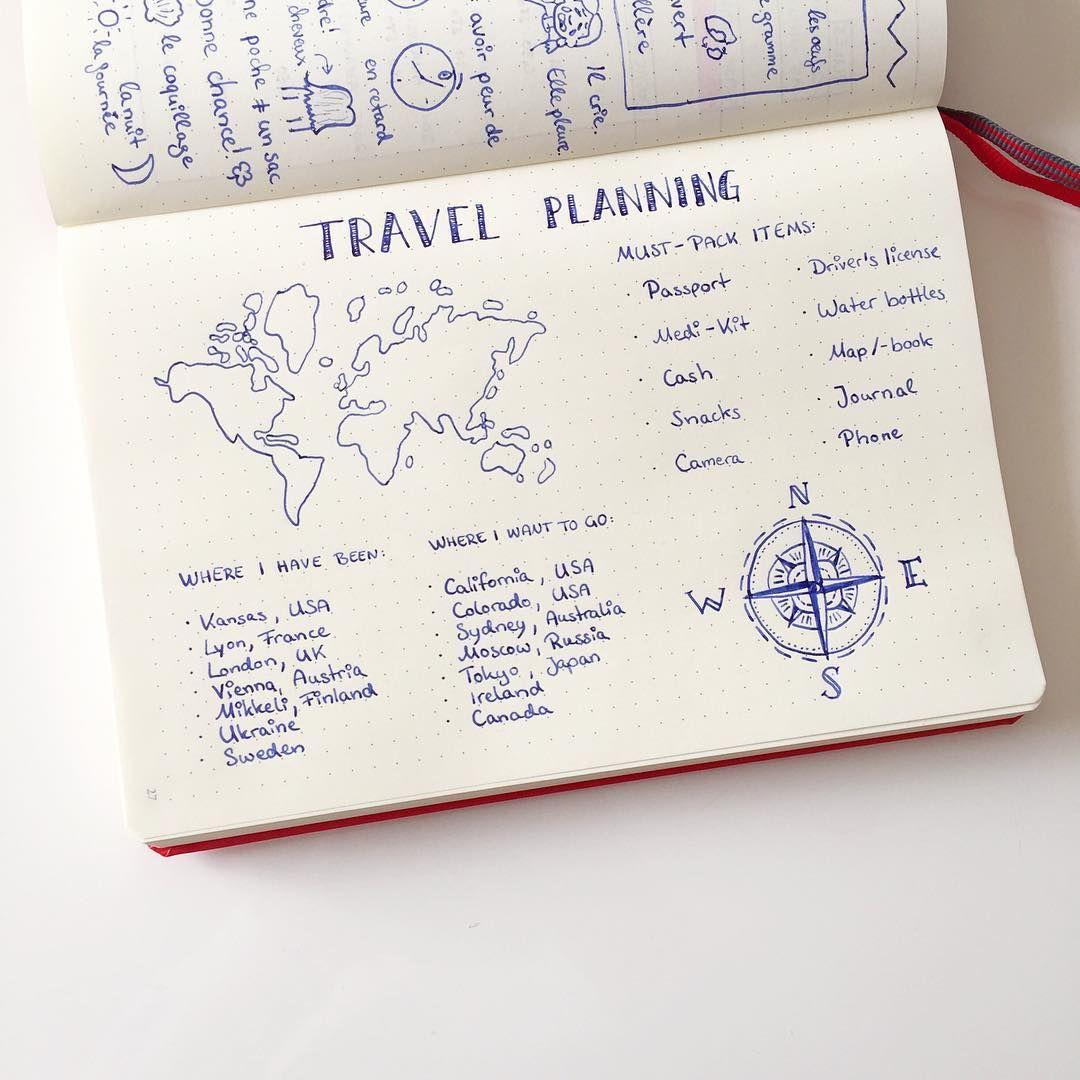 id e de collection pour planifier un voyage avec son bullet journal note book pinterest. Black Bedroom Furniture Sets. Home Design Ideas