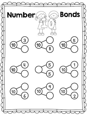 Number 10 Bonds Worksheet >> Part of The Story of 10 Print