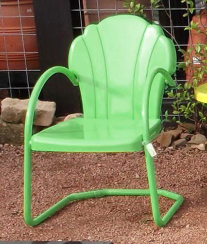 Vintage Metal Rockers | Buy Parklane Retro Metal Lawn Chair, Honeydew   Low  Prices With