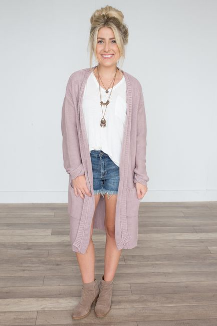 36b887457d3 Shop our Open Knit Midi Pocket Cardigan in Mauve. Pair with skinny jeans  and booties for a casual fall look. Always free shipping on all US orders.