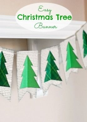 Easy Christmas Tree Book Page Banner Christmas Crafty Christmas Banners Simple Christmas Tree
