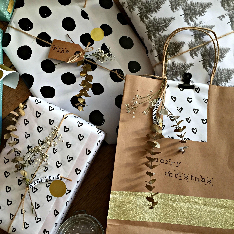 DIY paquet cadeau végétal étiquette tampon making tape