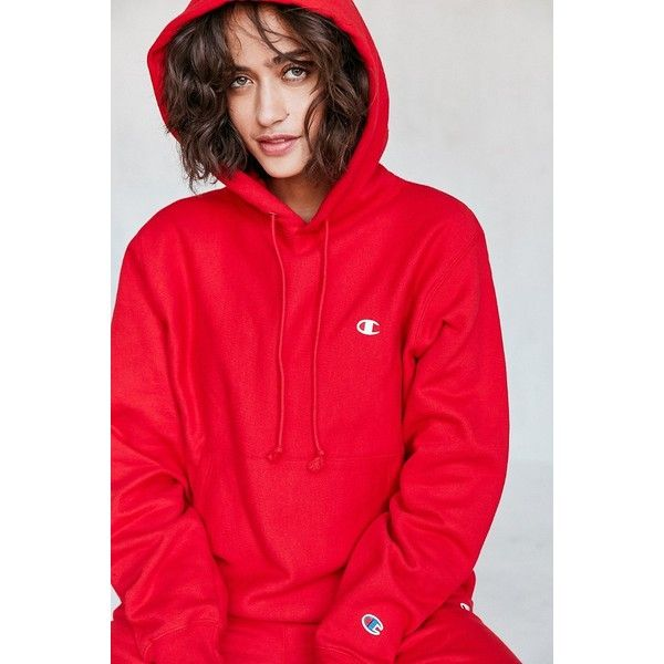 Champion + UO Reverse Weave Hoodie Sweatshirt (1,415 MXN) ❤ liked on Polyvore featuring tops, hoodies, sleeve hoodie, sweatshirt hoodies, hooded sweatshirt, reversible top and red top