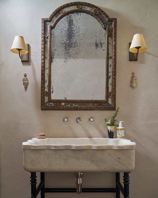 """Photo of Emma Grant on Instagram: """"Pic of hand-carved stone sink on iron stand from recently completed little bathroom. . . . . .  #emmagrantinteriors #interiordesign…"""""""