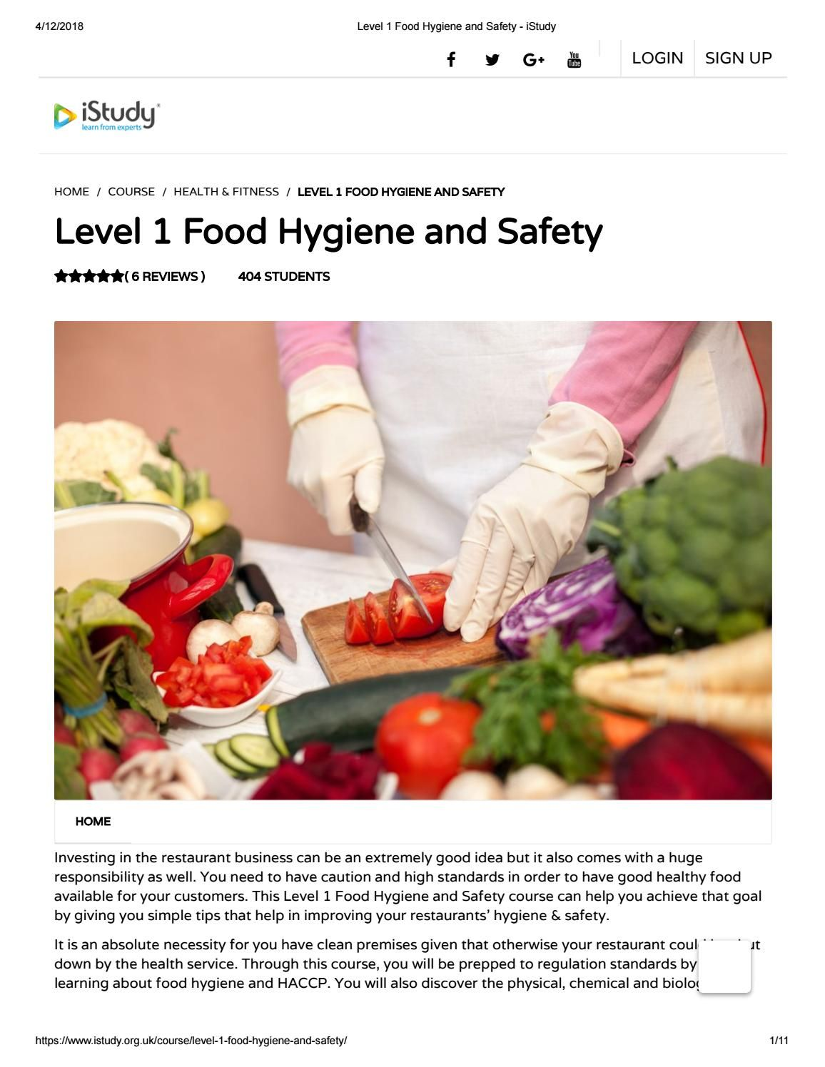 Level 1 Food Hygiene And Safety Istudy Food Online