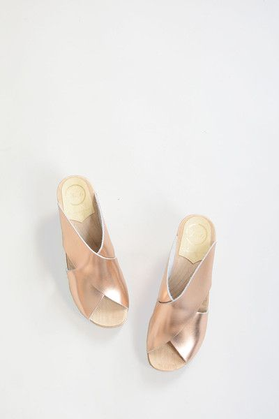 """A No.6 staff favorite and new classic. The Frida on High Heel manages to be both dressy and walkable. Two wide straps secure your foot with an """"x"""" — no back str"""