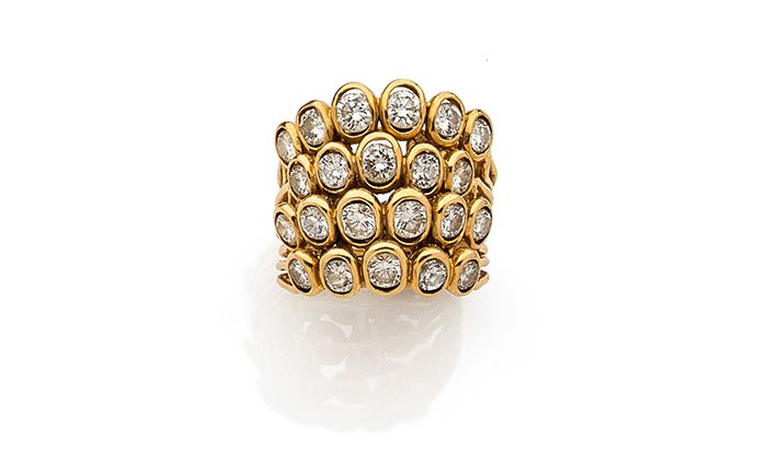ca 1950 - René Boivin - Ring with four movable rings made of gold and diamonds © Artcurial