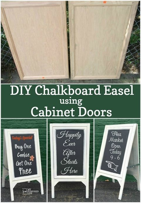 DIY chalkboard easels for wedding! Who knew you could make a chalkboard easel out of cabinet doors.  This would be great for a cafe, shoppe, wedding or for the kids.