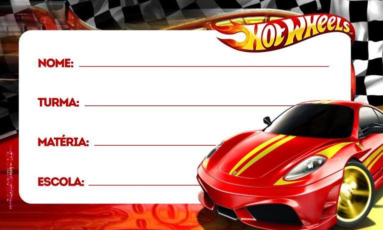 Hot Wheels Etiqueta Escolar Personalizada Imagem Legal Hot