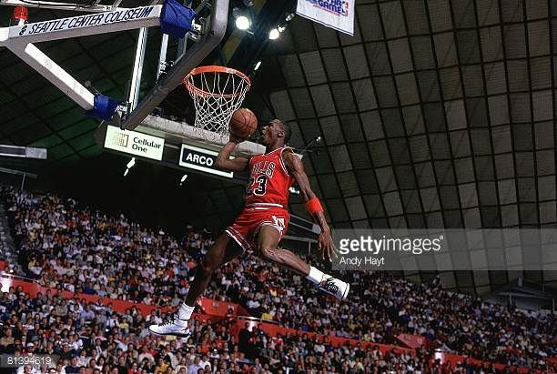 da80e77a46b0 Basketball NBA Slam Dunk Contest Chicago Bulls Michael Jordan in action  making dunk during All Star Weekend Seattle WA 2 8 1987
