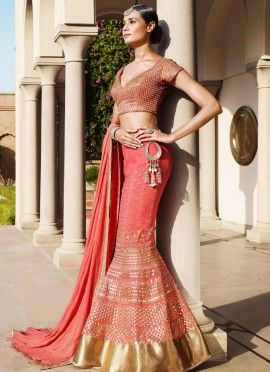 Pink Georgette Embroidered Party Wear Lehenga Choli Lehenga Crafted