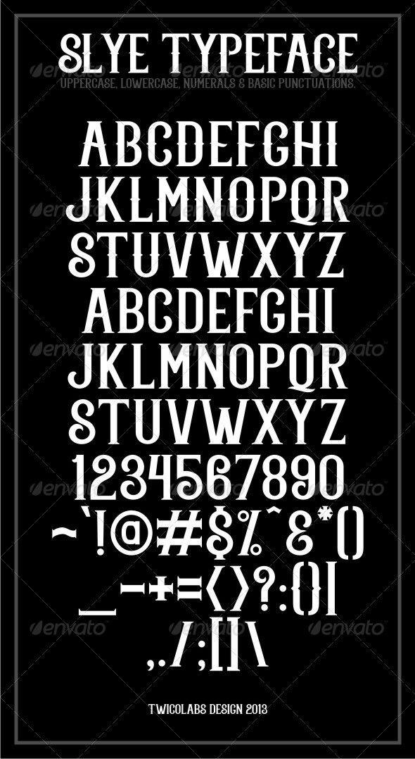 Fonts Slye Typeface GraphicRiver Vintage fonts