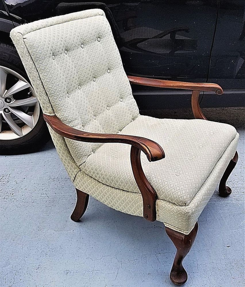 Details About Antique Edwardian Hand Carved Claw Arm Tufted Armchair