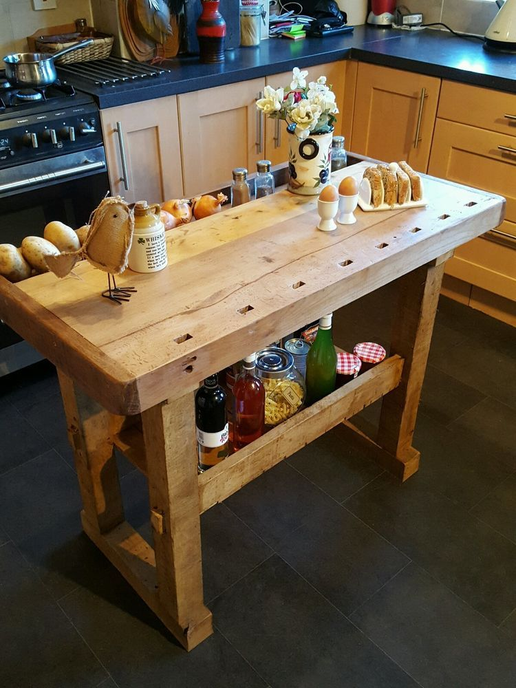 Butcher Block Workbench >> Details About Vintage Workbench Kitchen Island Butchers Block
