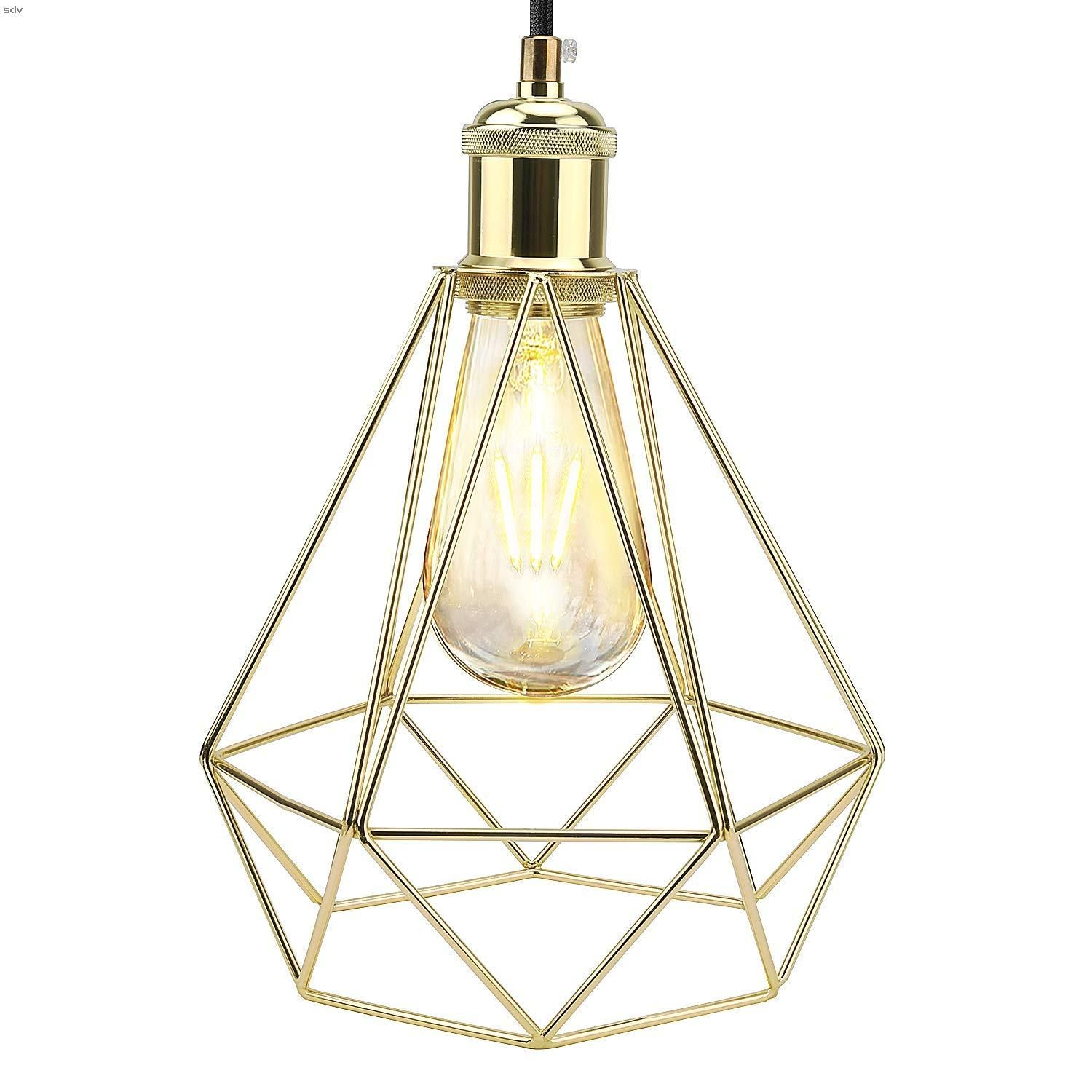 Ul Pendant Light Jackyled Modern Style Polygon Adjustable Cord Hanging Ceiling Gold Pendant Light Wire Cage Pendant Light For Kitchen Island Dining Room Bedroom