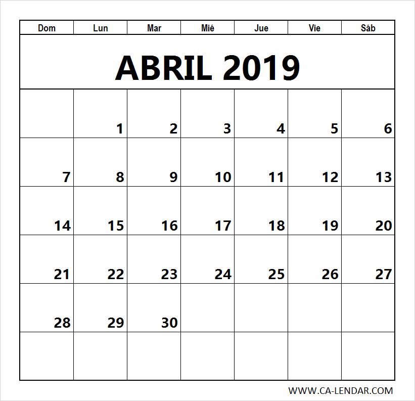 Abril 2019 Calendario Para Imprimir Calendario Para Imprimir