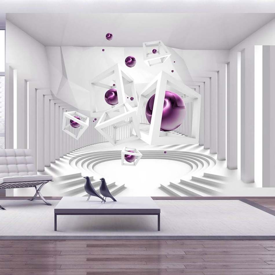 papier peint 3d cr ant un effet abstrait et trompe l il saisissant s jour salle manger. Black Bedroom Furniture Sets. Home Design Ideas